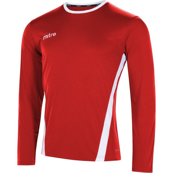 Mitre Origin Long Sleeve Scarlet/White Football Shirt