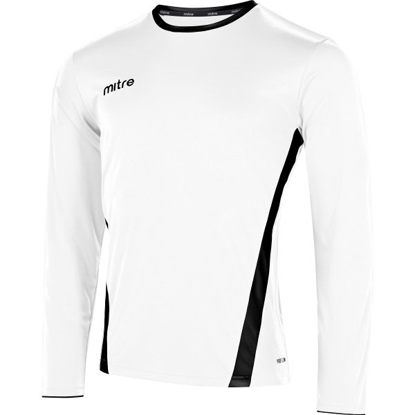 Mitre Origin Long Sleeve White/Black Football Shirt