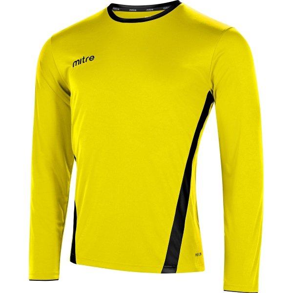 Mitre Origin Long Sleeve Yellow/Black Football Shirt