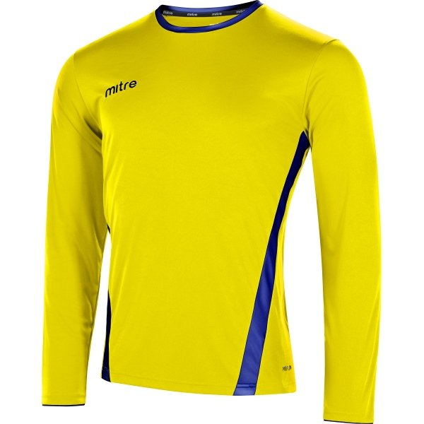 Mitre Origin Long Sleeve Yellow/Royal Football Shirt