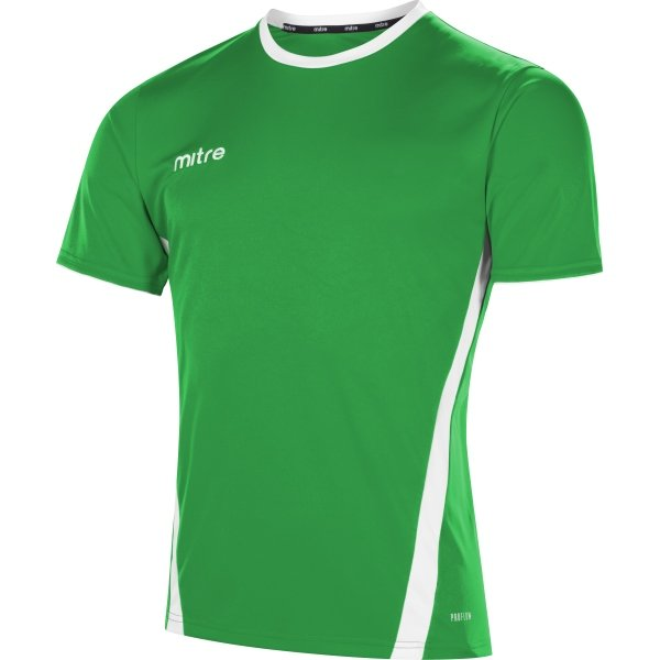 Mitre Origin Short Sleeve Emerald/White Football Shirt