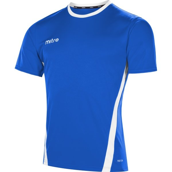 Mitre Origin Short Sleeve Royal/White Football Shirt