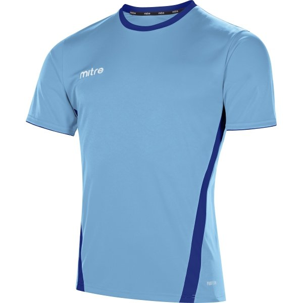Mitre Origin Short Sleeve Sky/Navy Football Shirt