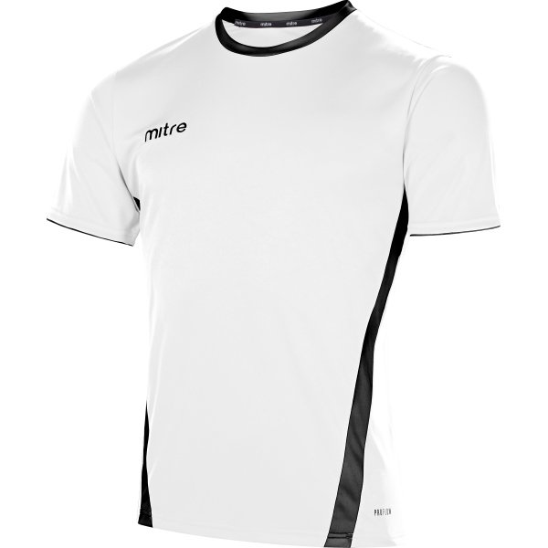 Mitre Origin Short Sleeve White/Black Football Shirt