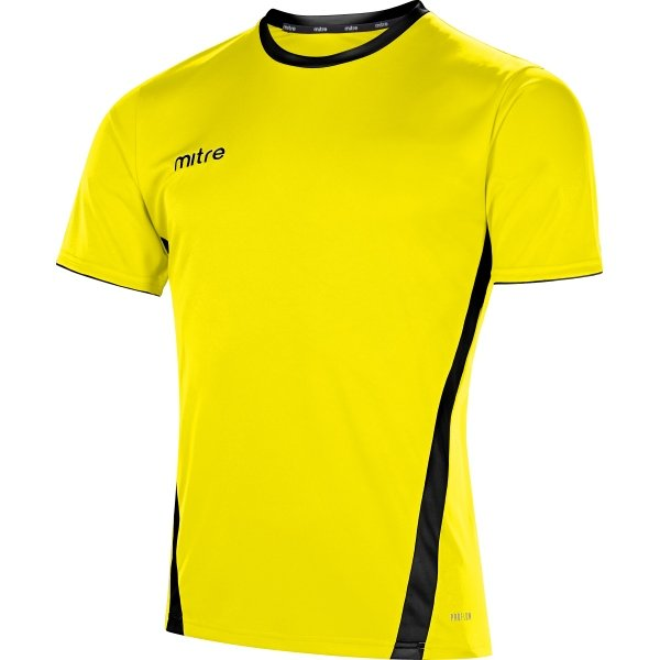 Mitre Origin Short Sleeve Yellow/Black Football Shirt