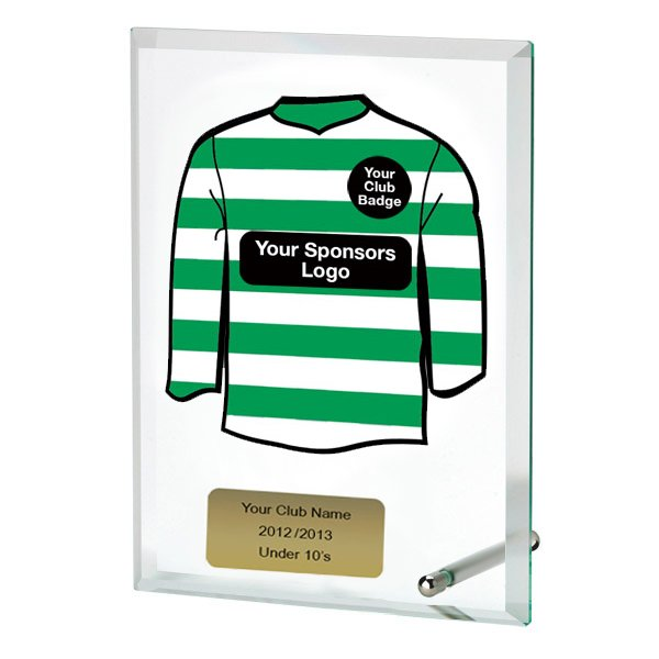 Glass Award With Personalised Hooped Shirt