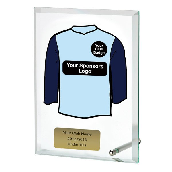 Glass Award With Personalised Sleeves Shirt