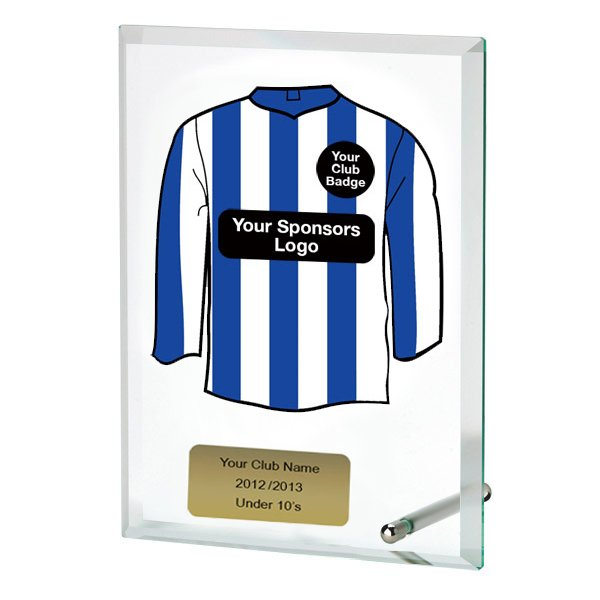 Glass Award With Personalised Striped Shirt